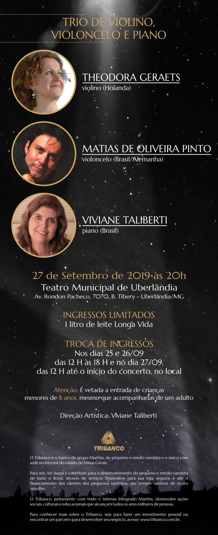 Trio de Violino, Violoncelo e Piano com Theodora Geraets, Matias de Oliveira Pinto e Viviane Taliberti - Concertos Tribanco - Temporada 2019